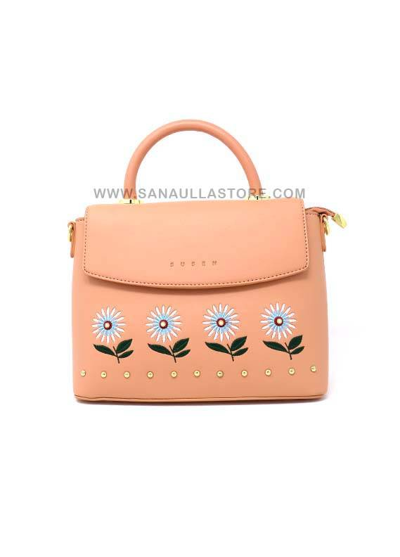 Susen PU Leather Satchels Handbags for Women - Peach with Plain Multi Flowers