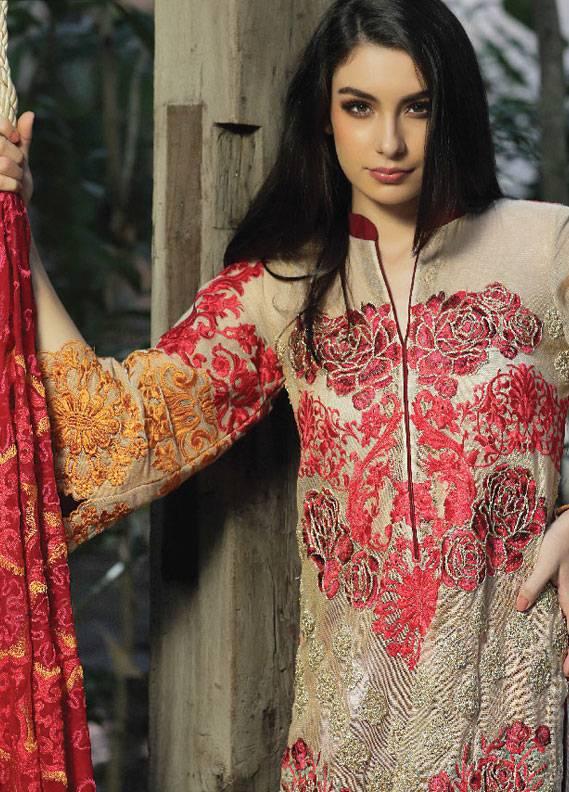 ZUNUJ Embroidered Cotton Net Unstitched 3 Piece Suit ZJ18C 05