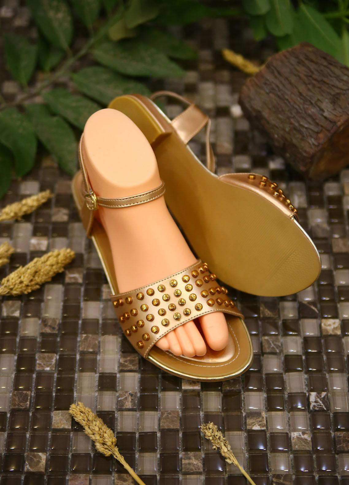 1st Sight Fashion Casual Style  Flat  Y Flat San 9 Golden