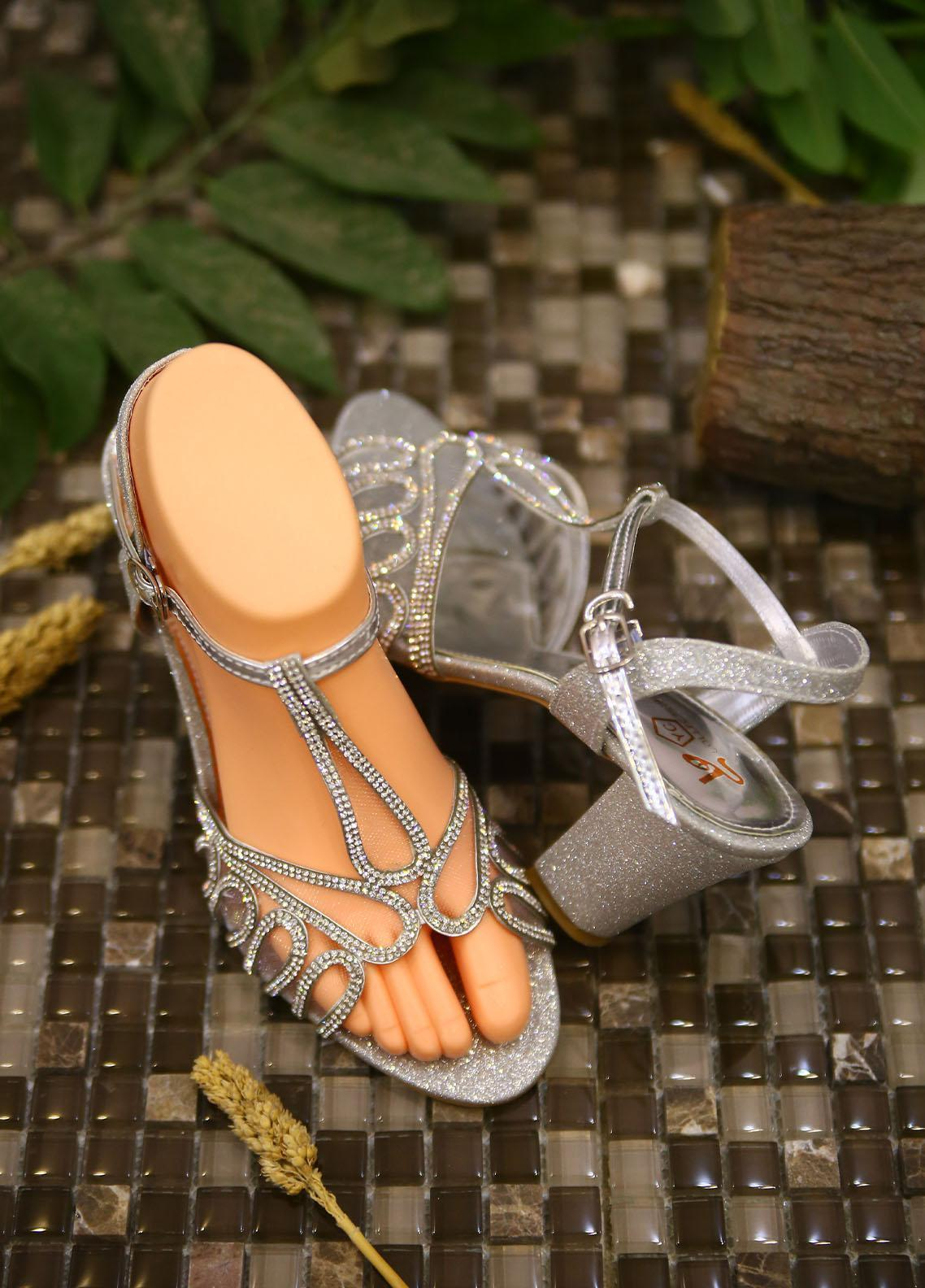 1st Sight Fashion Formal Style  Heel  Y Heel 12 Silver