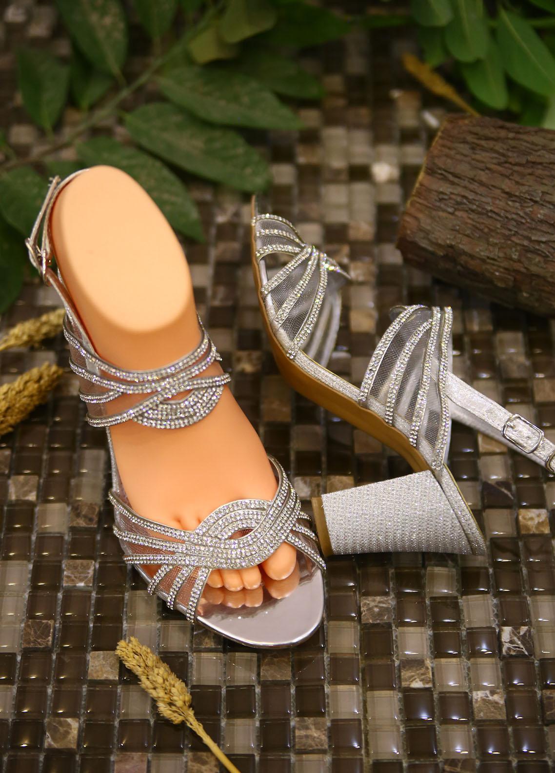 1st Sight Fashion Formal Style  Heel  Y Heel 13 Silver