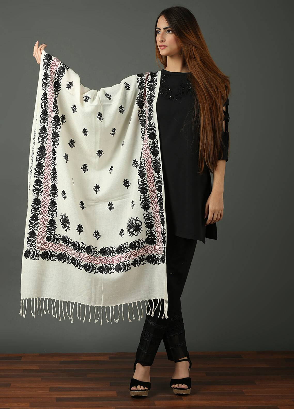 Black Embroidered Pashmina Shawls for ladies - SW 209
