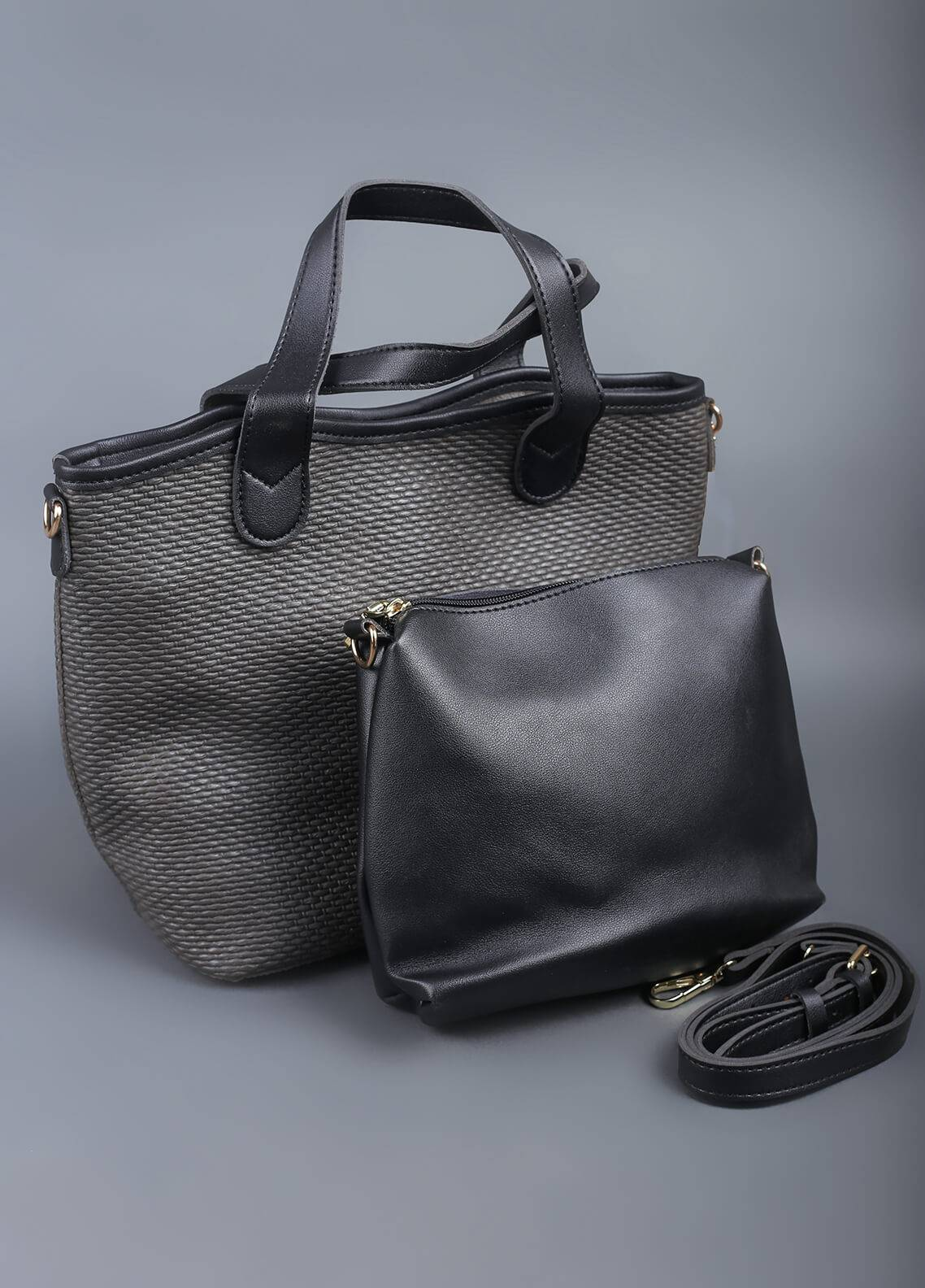 Sanaulla Exclusive Range PU Leather Tote  Handbags for Women - Black with Textured