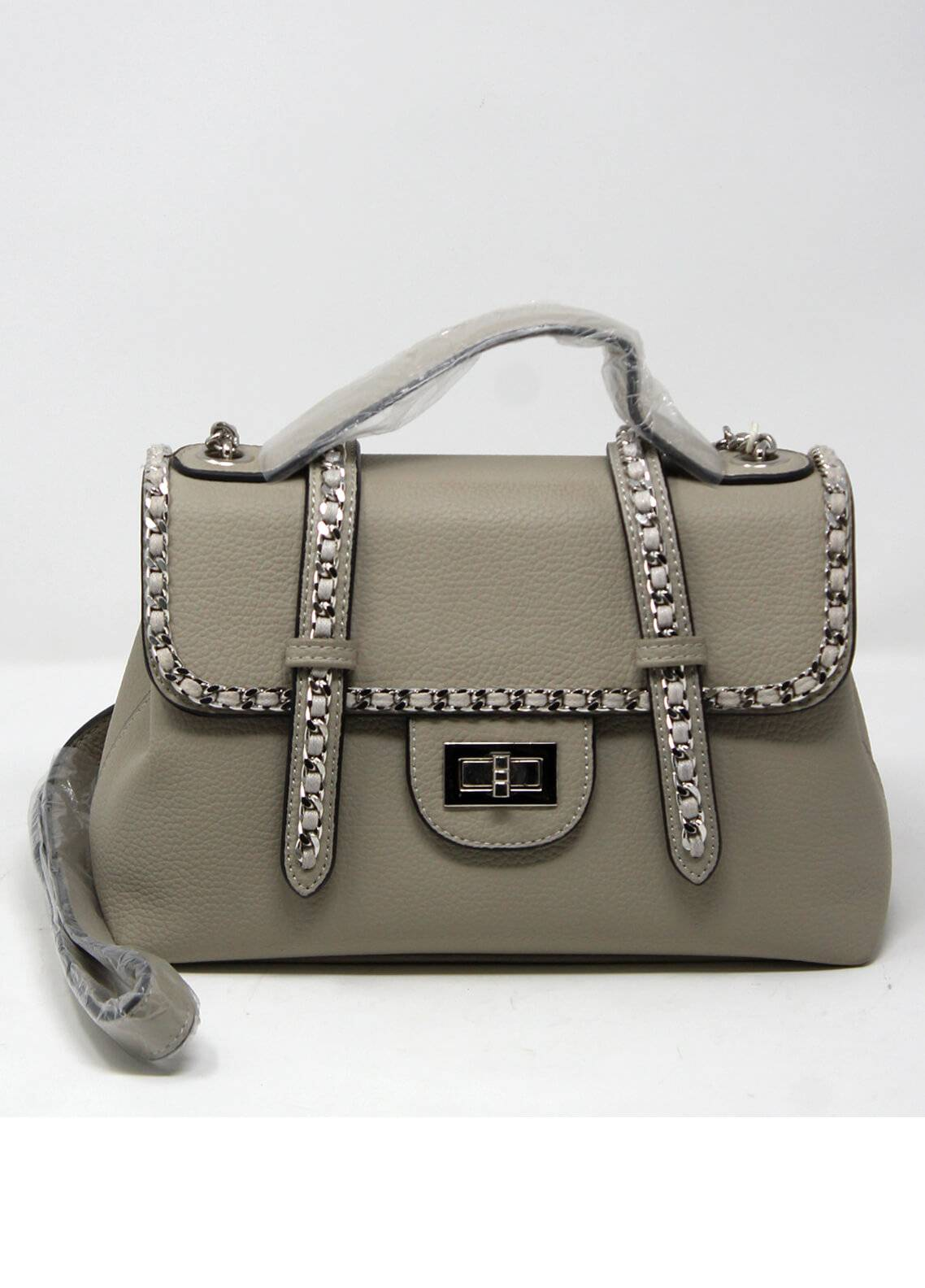 Susen PU Leather Satchels Bag for Women - Grey with Plain Texture