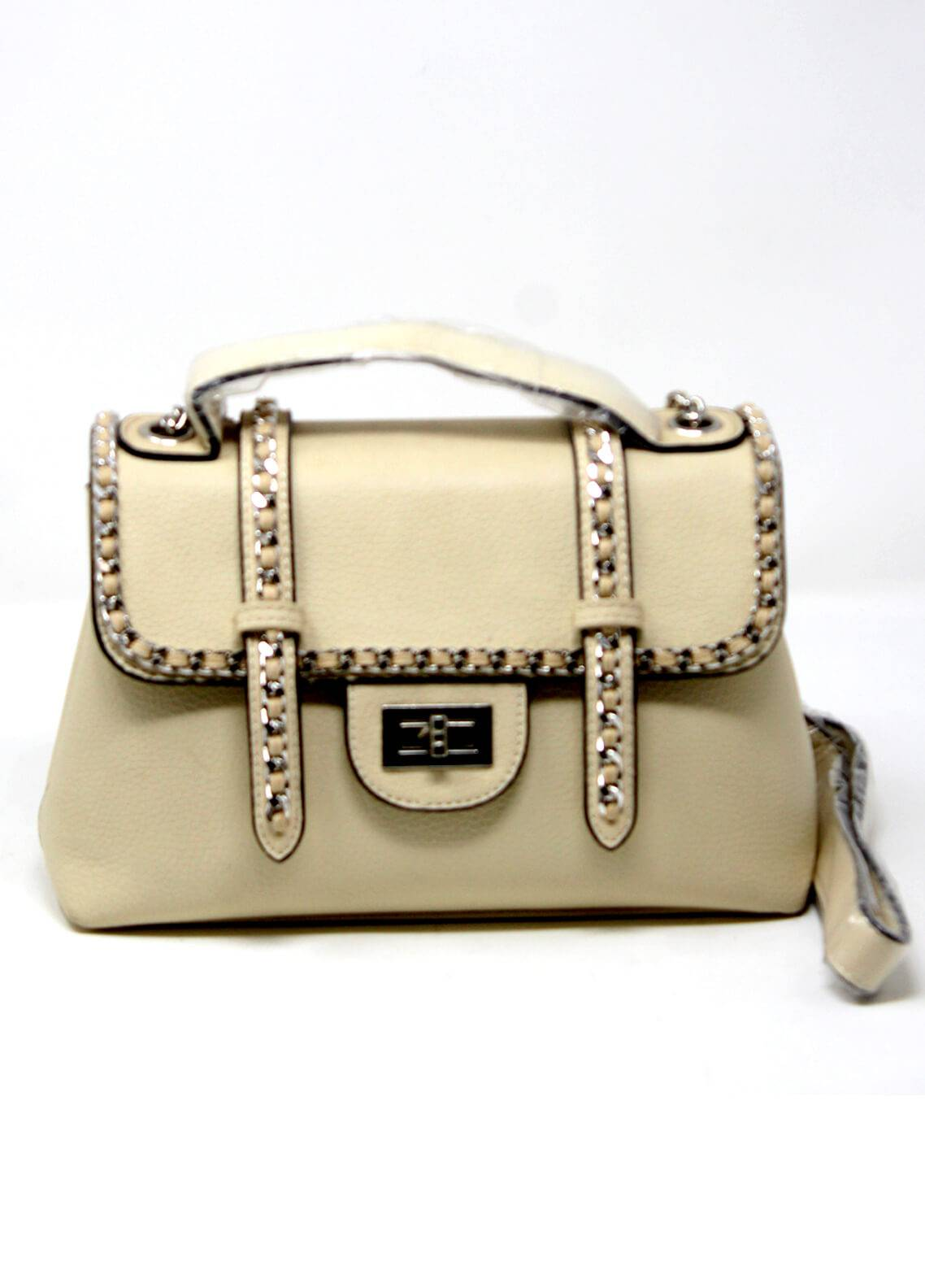 Susen PU Leather Satchels Bag for Women - Cream with Plain Texture
