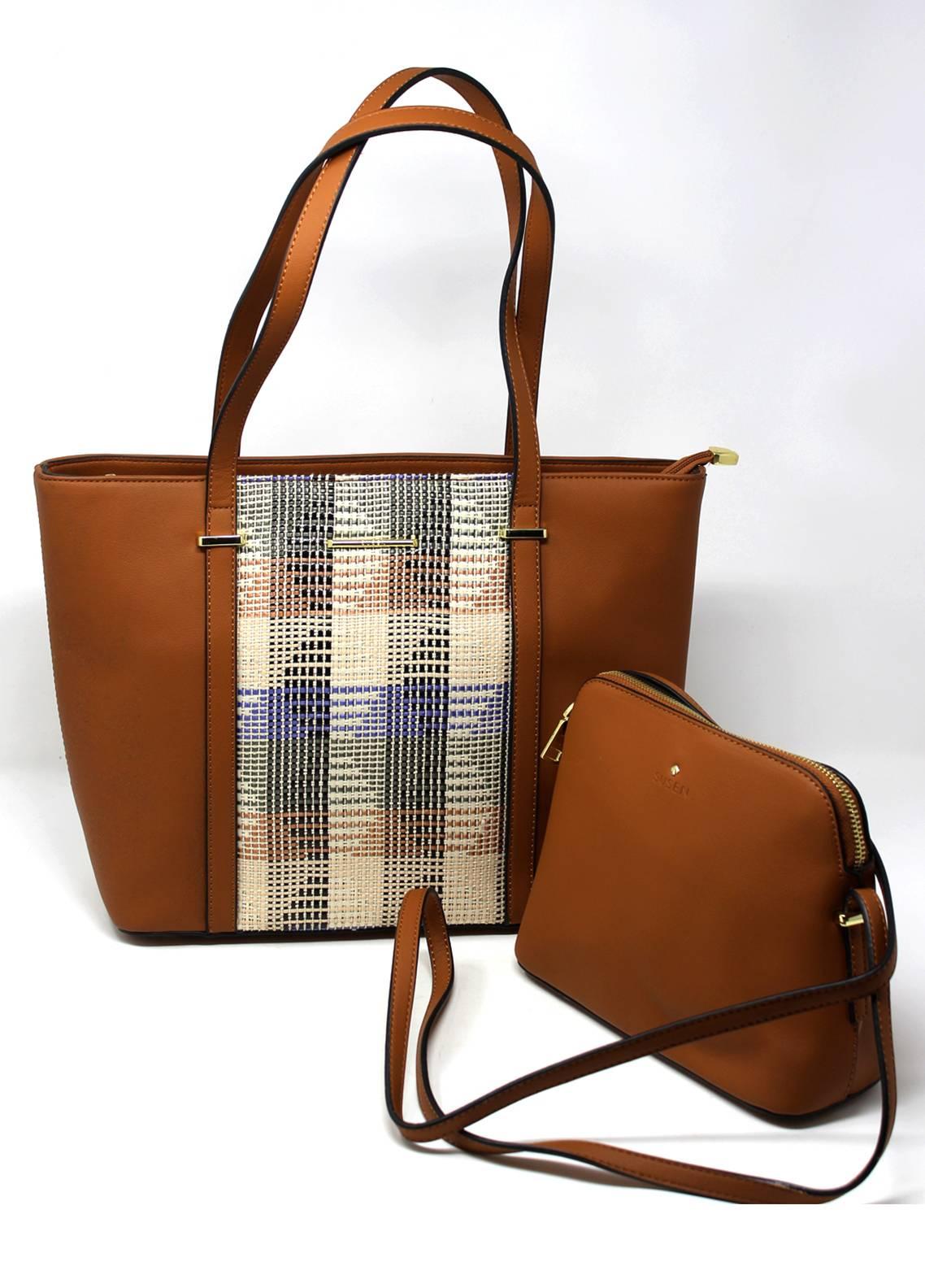 Susen PU Leather Tote  2 Piece Handbag Set for Women - Brown with Plain Pattern Design