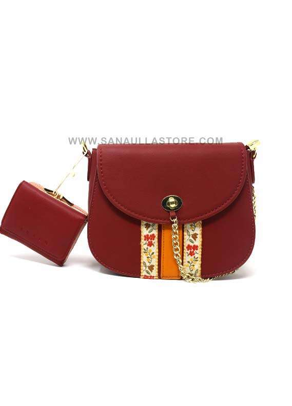 Susen PU Leather Satchels 2 Piece Handbag Set for Women - Maroon with Plain Embroidery Flowers