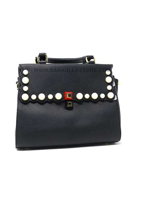 Susen PU Leather Satchels Handbags for Women - Black with Plain Pearl Style