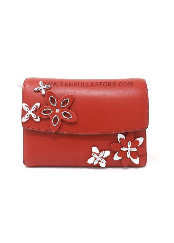 Susen PU Leather Satchels Handbags for Women - Maroon with Plain Flowers Bunch