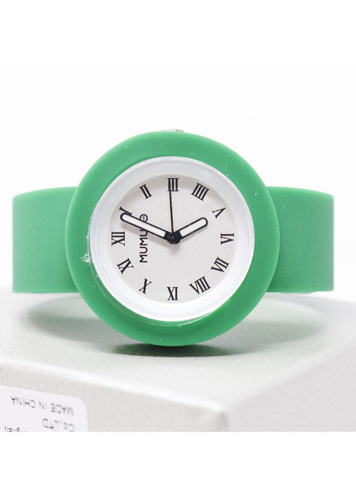 Mumuso Fashion Silicone Watch-green belt (M)roman capitals watch