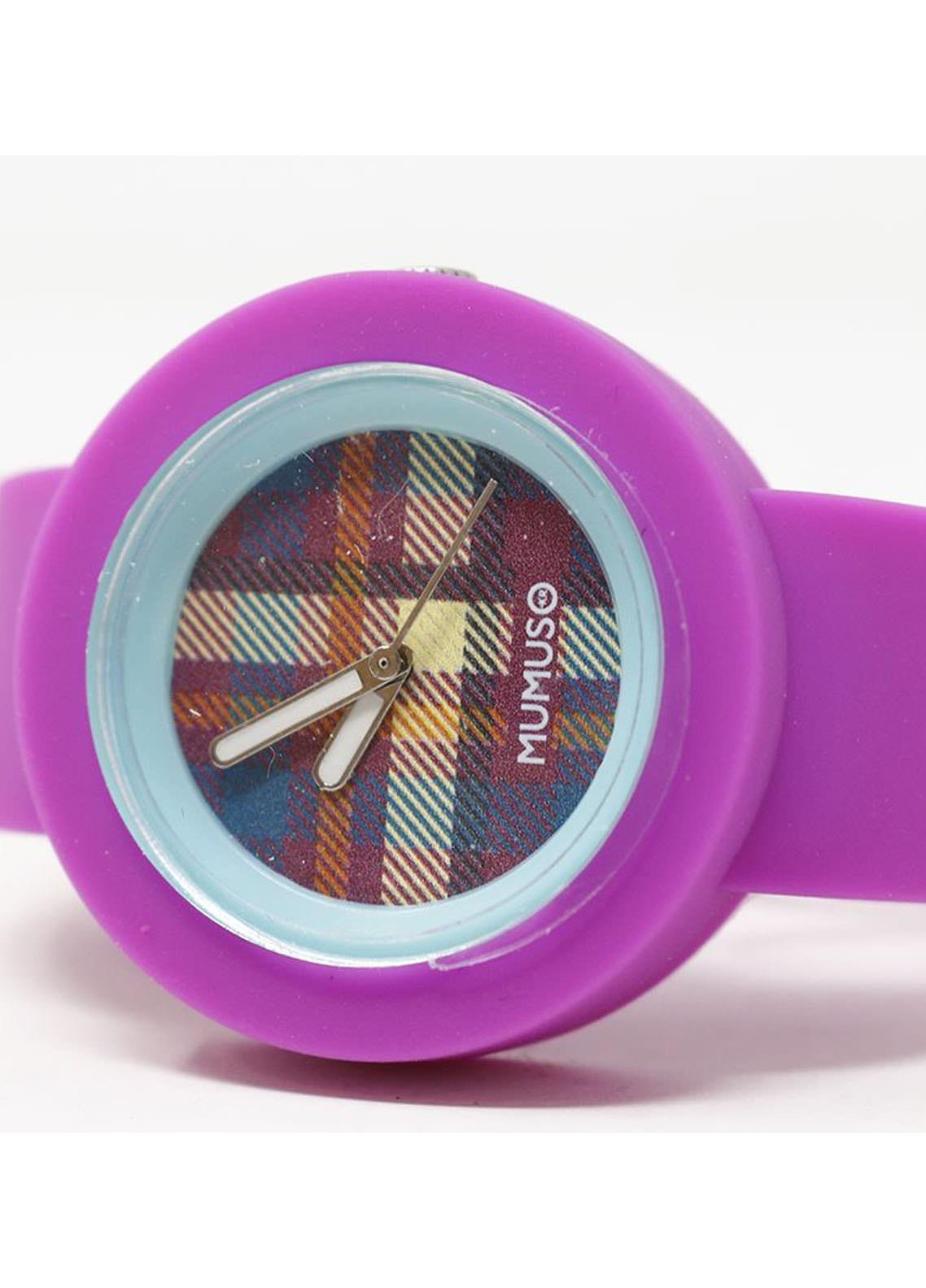 Mumuso Fashion Silicone Watch-purple belt (M)scotch pattern watch