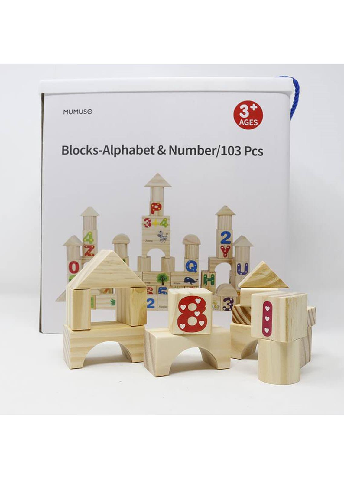 Mumuso BLOCKS-ALPHABET & NUMBER-103 PCS