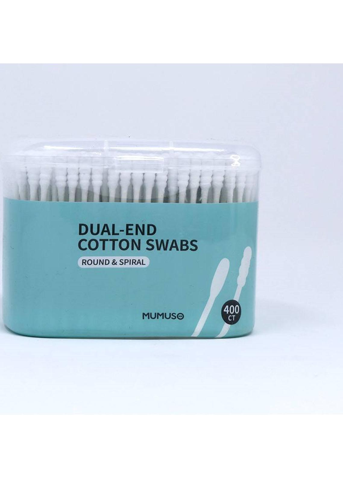 Mumuso DUAL-END COTTON SWABS (POINTED & SPIRAL-400 CT)