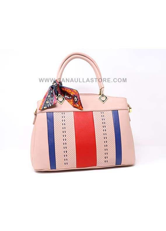 Susen PU Leather Satchels Handbags for Women - Peach with Plain Multi Stripes