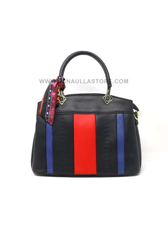 Susen PU Leather Satchels Handbags for Women - Black with Stripes