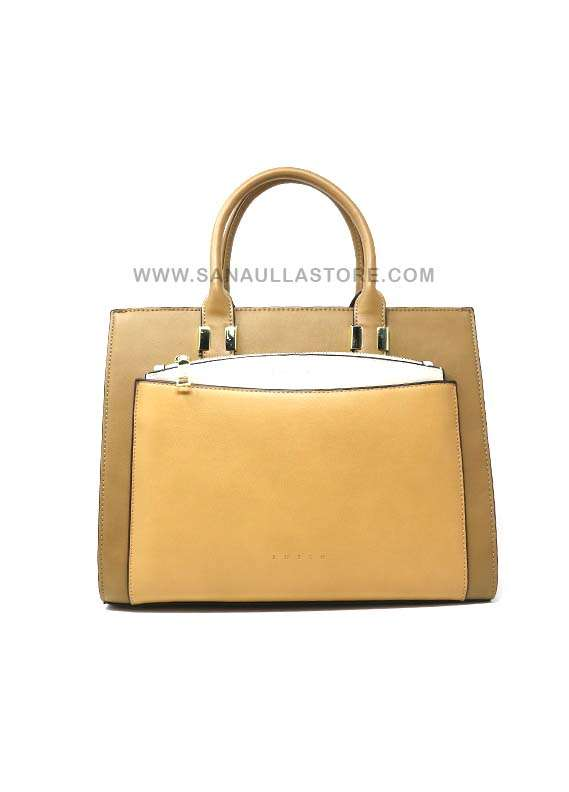 Susen PU Leather Tote  Handbags for Women - Beige with Stripes Plain Design