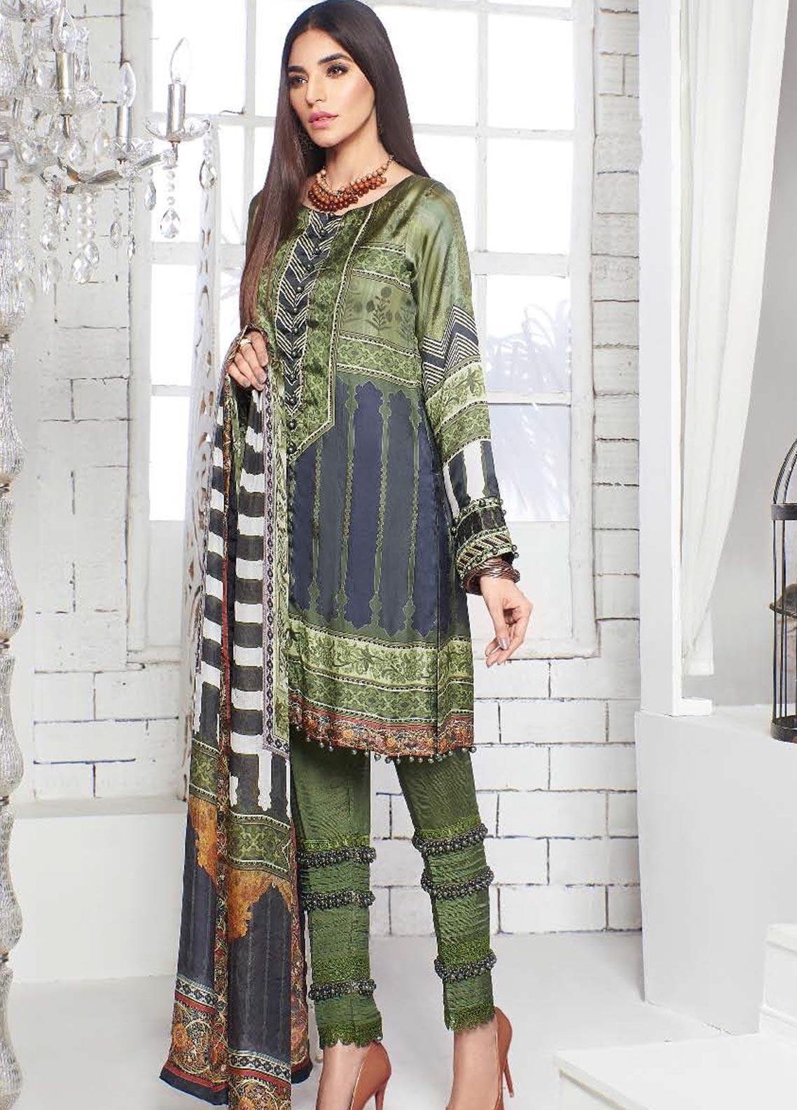 A-MEENAH Embroidered Charmeuse Silk Unstitched 3 Piece Suit AME20CS JANAN - Winter Collection