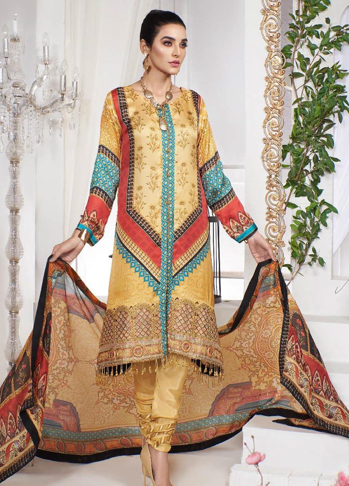 A-MEENAH Embroidered Charmeuse Silk Unstitched 3 Piece Suit AME20CS KHUSHBAKHT - Winter Collection