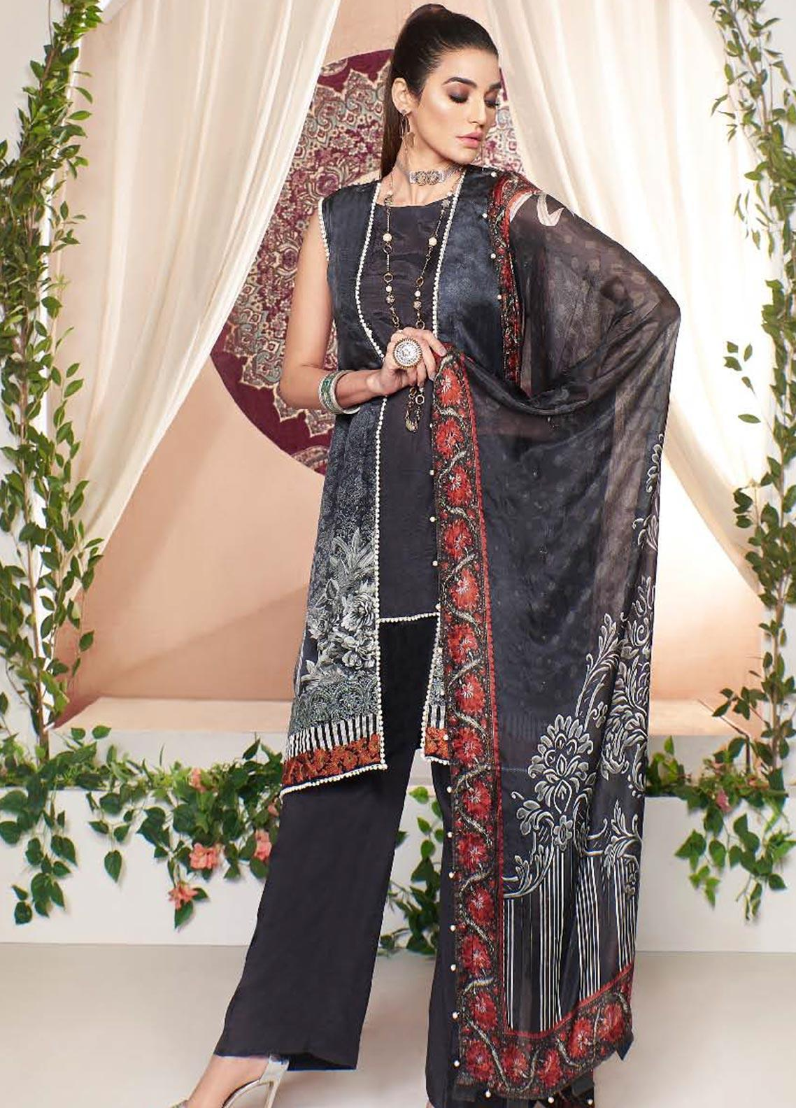 A-MEENAH Embroidered Charmeuse Silk Unstitched 3 Piece Suit AME20CS MAH-NOOSH - Winter Collection