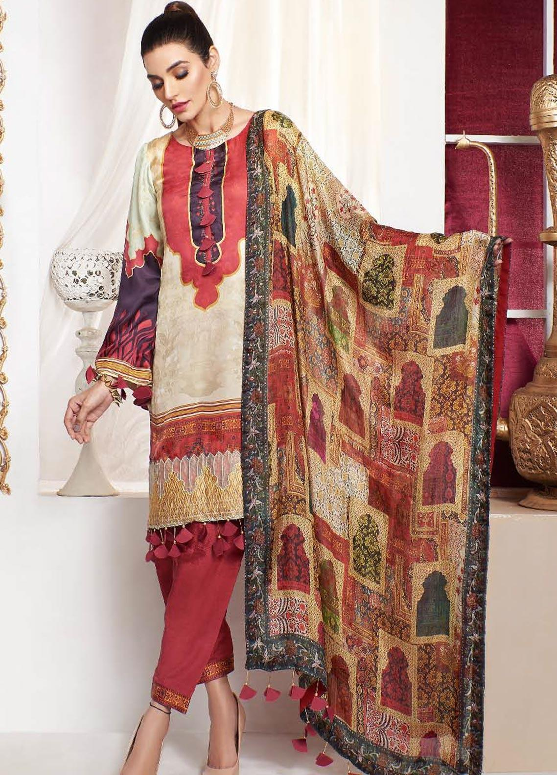 A-MEENAH Embroidered Charmeuse Silk Unstitched 3 Piece Suit AME20CS SHAHR-E-ZAHEK - Winter Collection