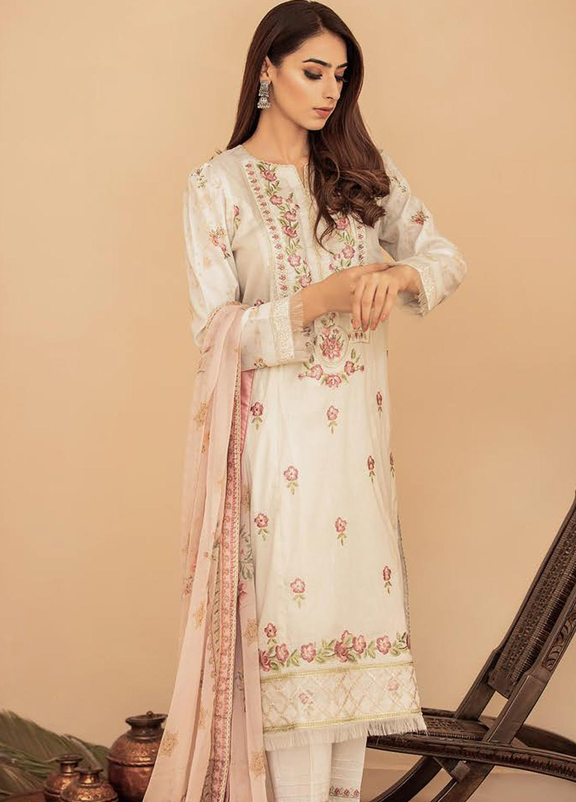 Aabyaan Embroidered Lawn Unstitched 3 Piece Suit AB20FL 07 Ria - Summer Collection