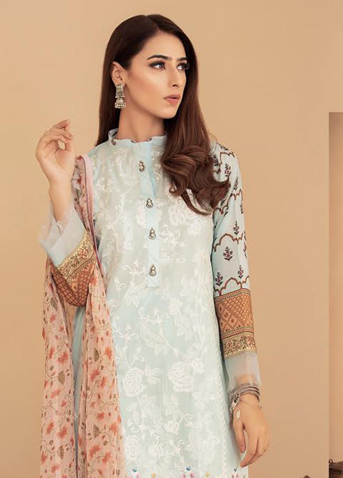 Aabyaan Embroidered Lawn Unstitched 3 Piece Suit AB20FL 08 Zavian - Summer Collection