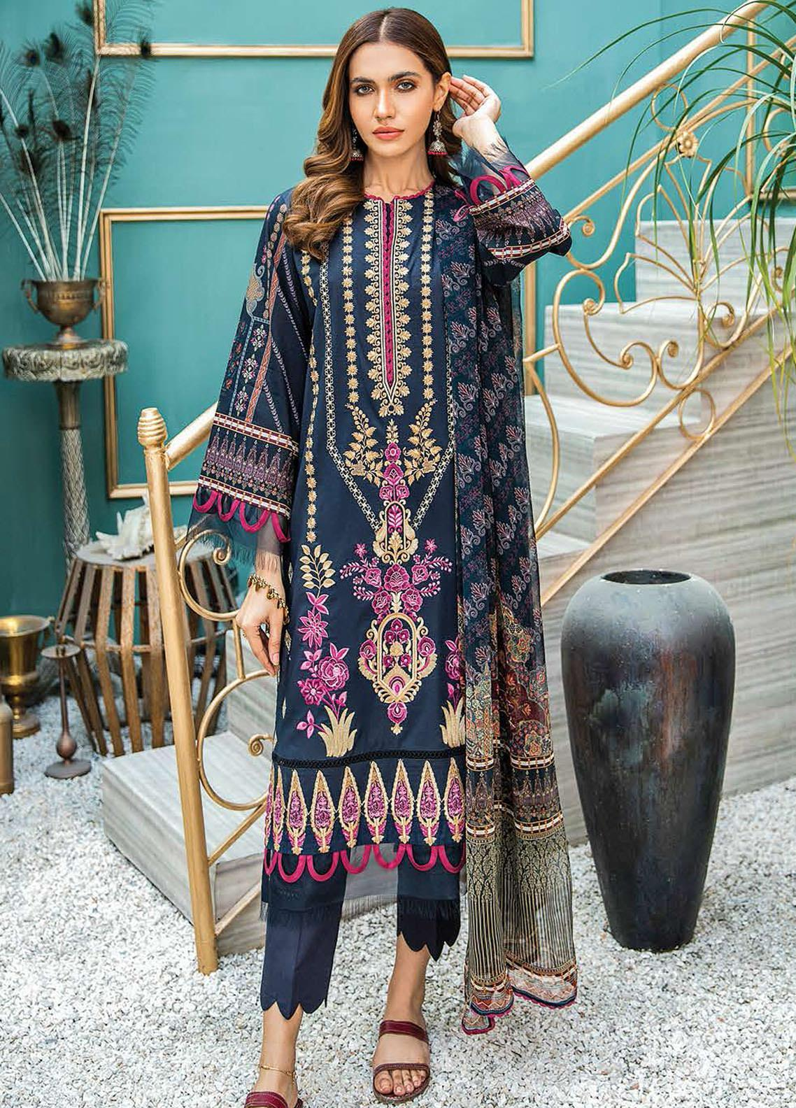 Aabyaan Embroidered Lawn Suits Unstitched 3 Piece ABY21L D-03 - Summer Collection