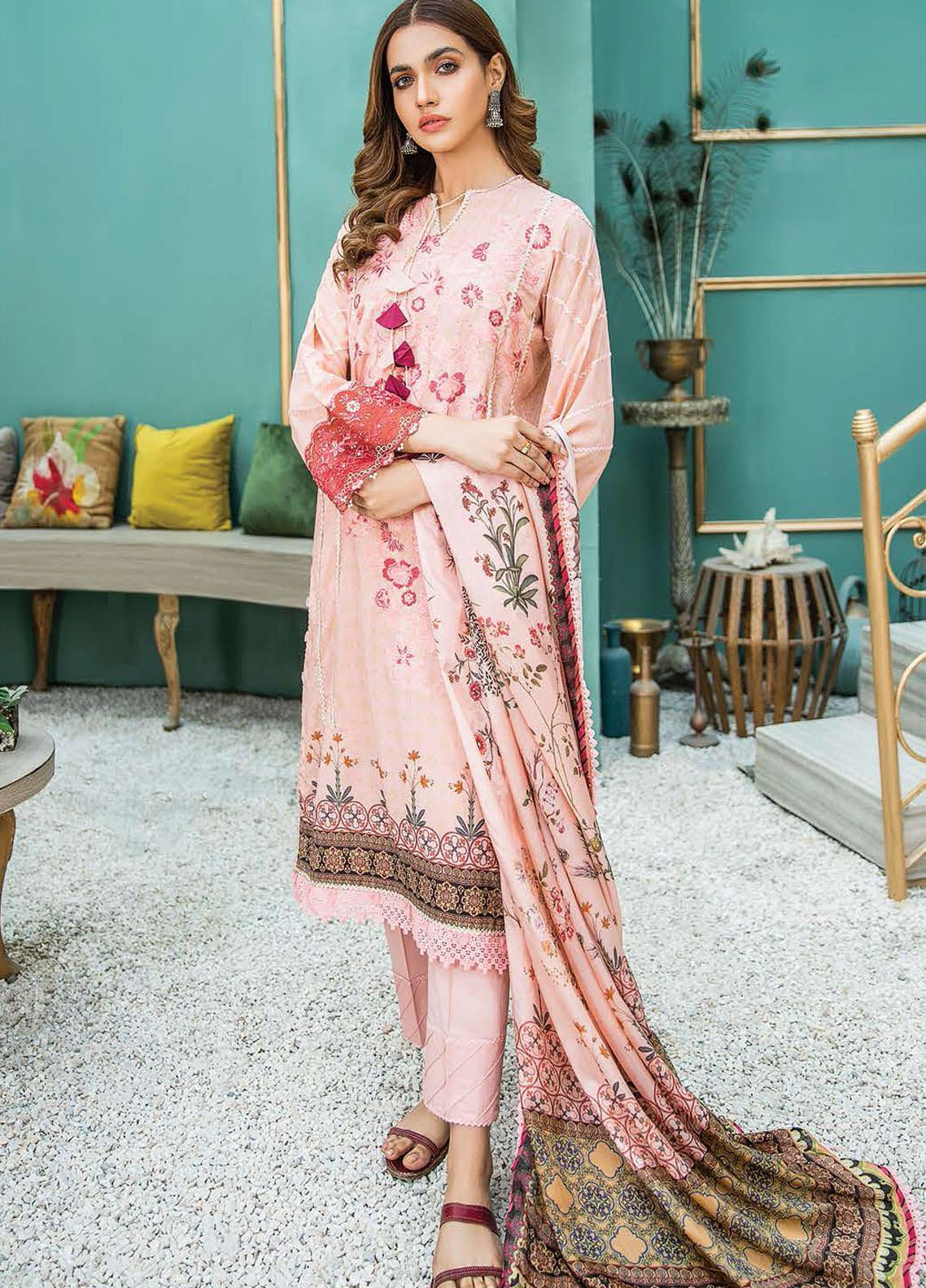 Aabyaan Embroidered Lawn Suits Unstitched 3 Piece ABY21L D-09 - Summer Collection