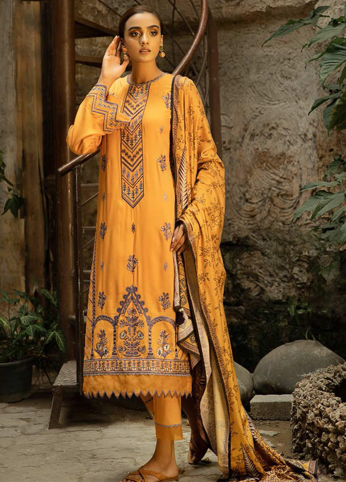 Aabyaan Embroidered Viscose Silk Unstitched 3 Piece Suit ABY20VS 04 Gulizar - Winter Collection
