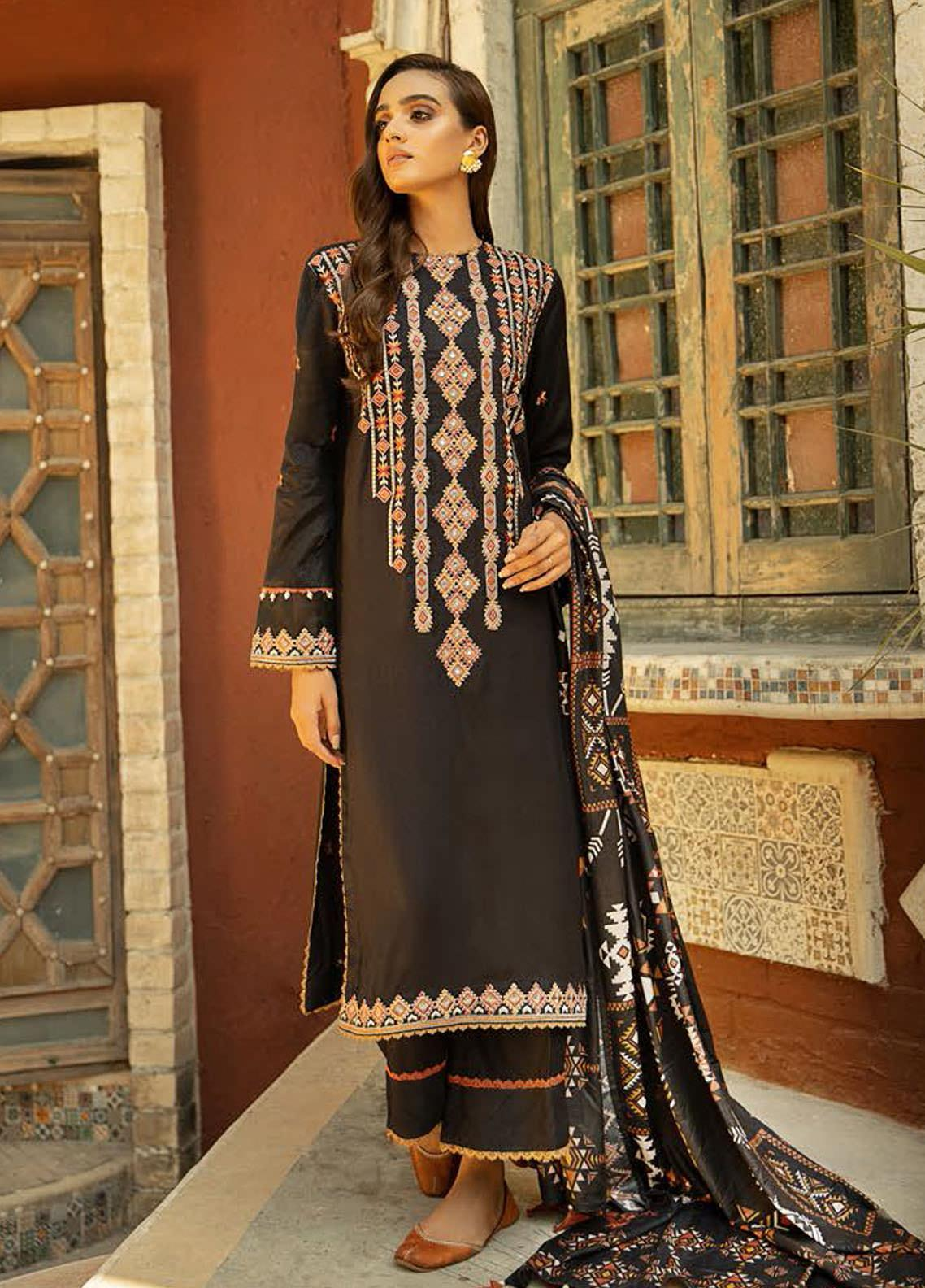Aabyaan Embroidered Viscose Silk Unstitched 3 Piece Suit ABY20VS 07 Lalam - Winter Collection