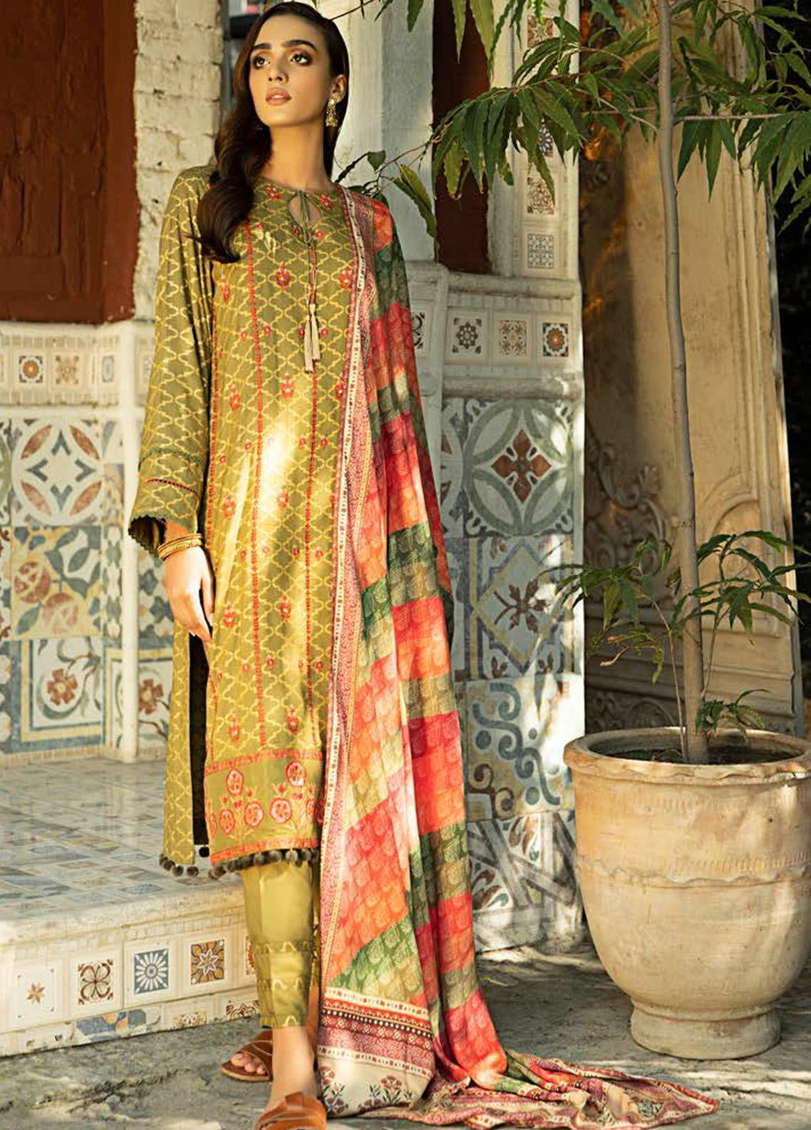 Aabyaan Embroidered Viscose Silk Unstitched 3 Piece Suit ABY20VS 10 Emel - Winter Collection