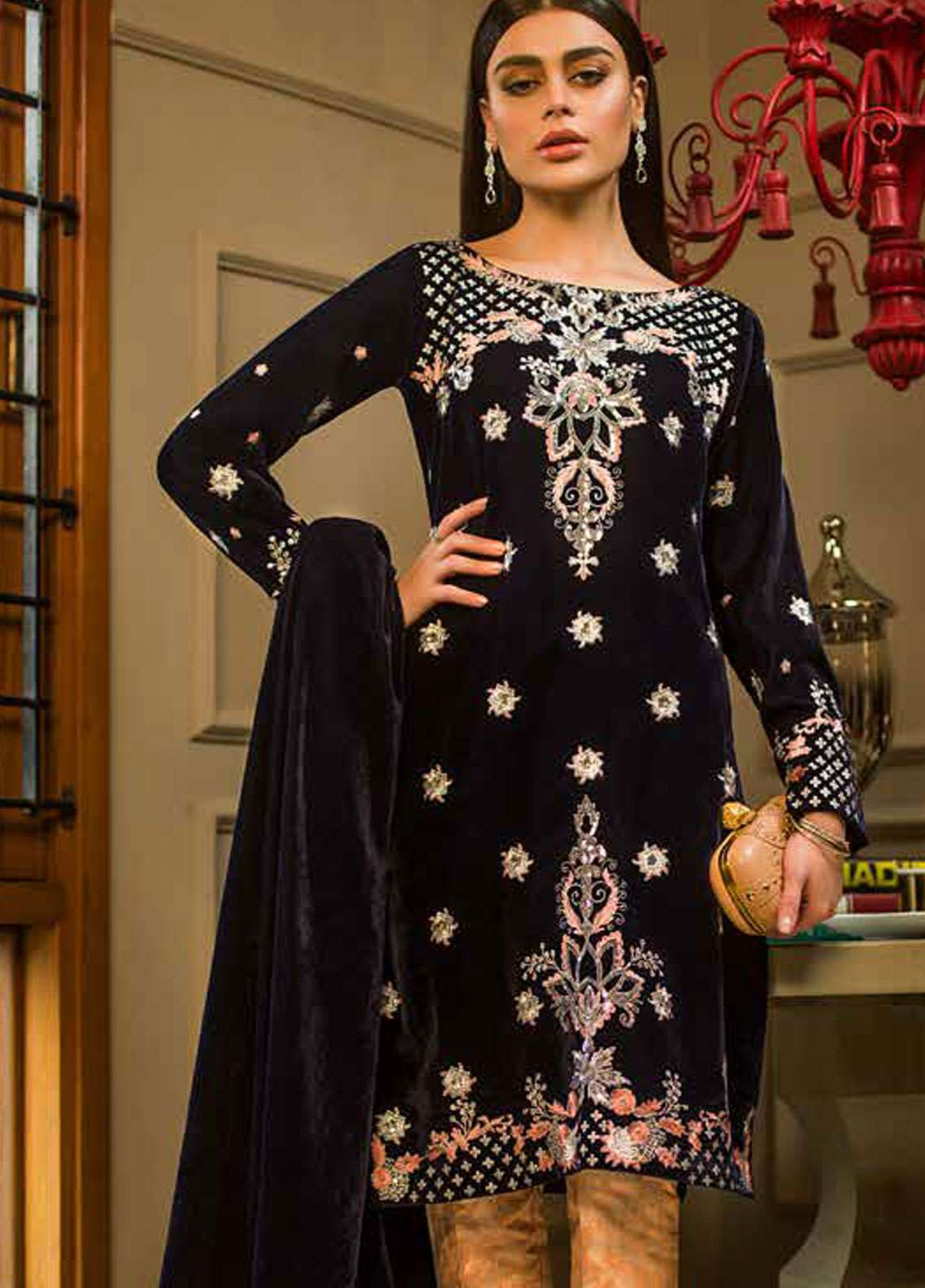 Aamna Aqeel Embroidered Velvet Unstitched 3 Piece Suit AA18V 05 Navy Nostalgia - A Velvet Romance