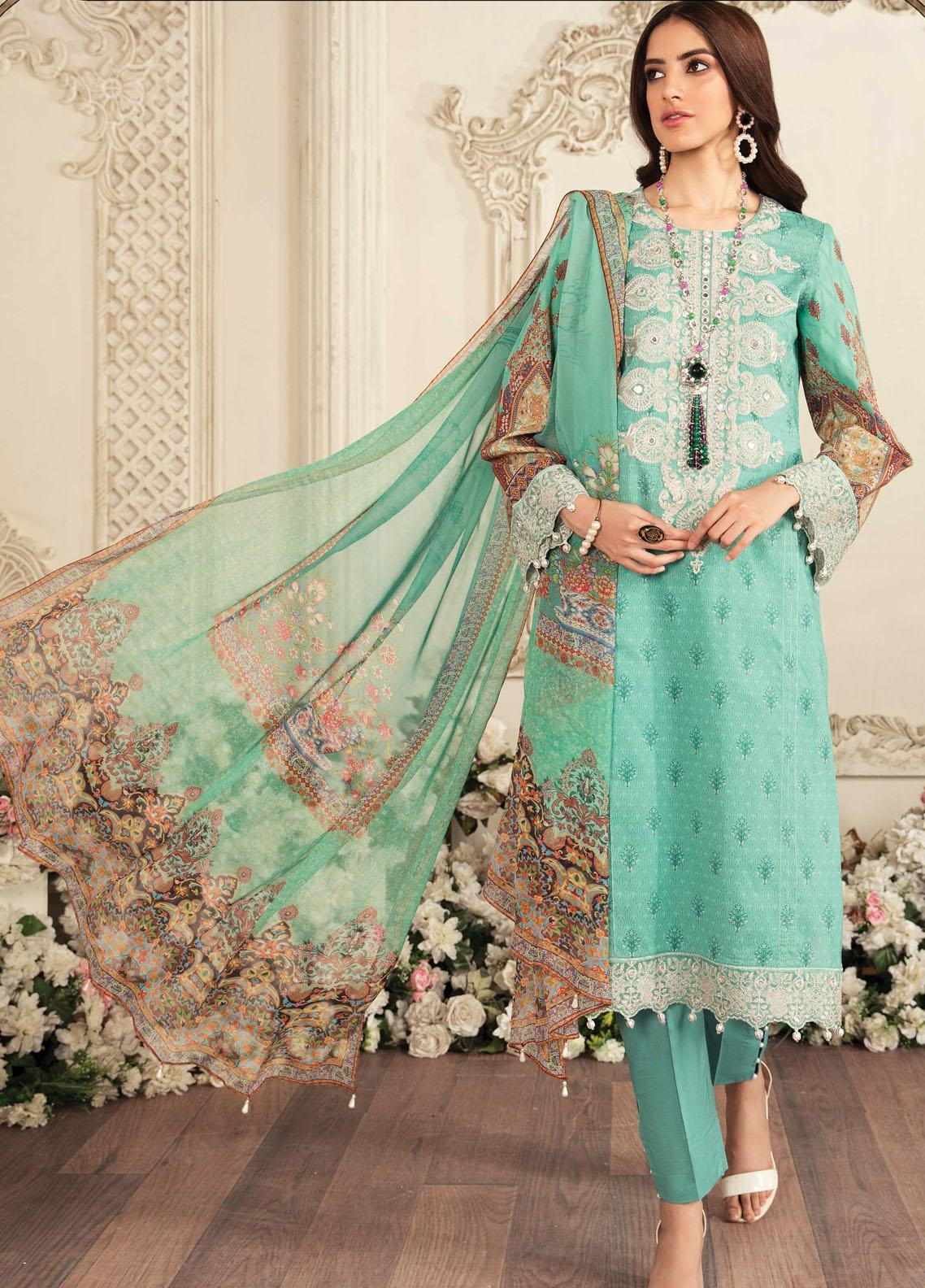 Aayra Embroidered Lawn Suits Unstitched 3 Piece AY21L 03B - Luxury Collection