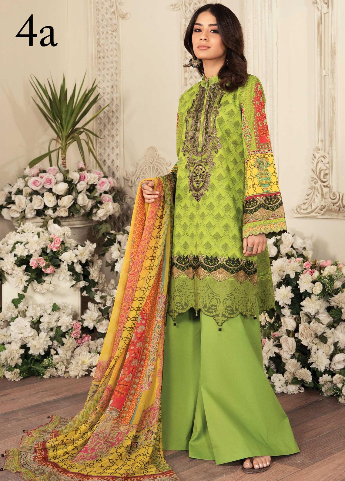 Aayra Embroidered Lawn Suits Unstitched 3 Piece AY21L 04A - Luxury Collection