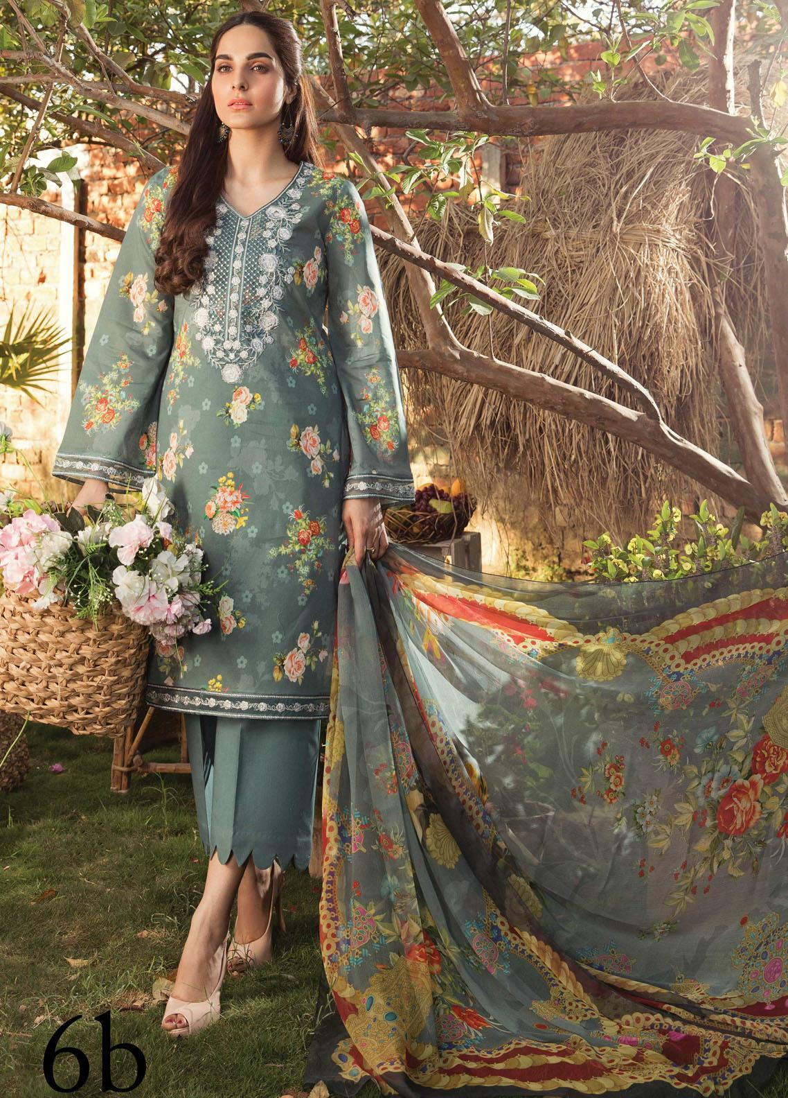 Aayra Embroidered Lawn Suits Unstitched 3 Piece AY21L 06B - Luxury Collection