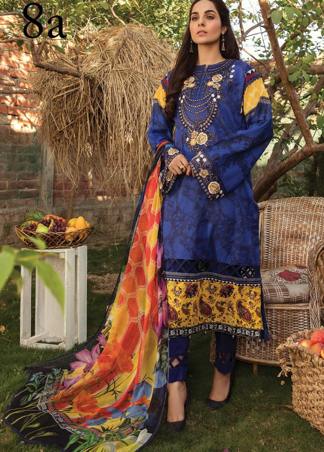 Aayra Embroidered Lawn Suits Unstitched 3 Piece AY21L 08A - Luxury Collection