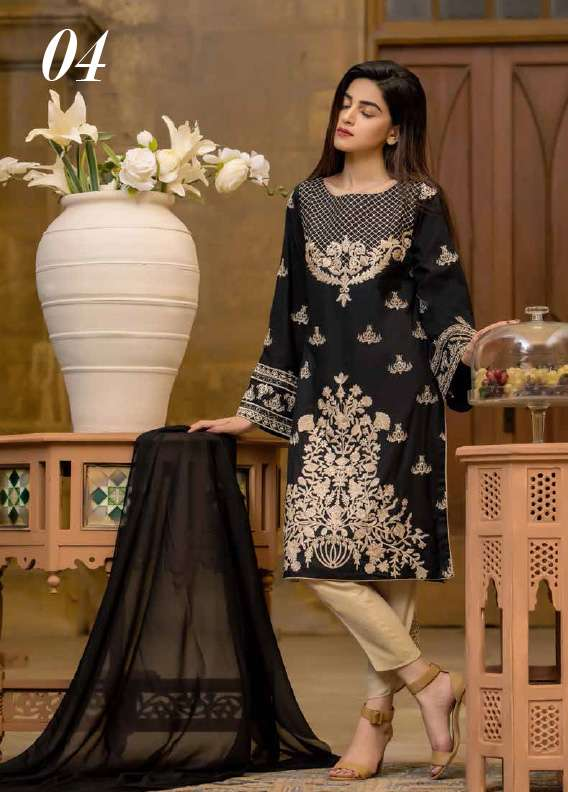 Arisha Chowdary BY ZS Embroidered Cotton Unstitched 3 Piece Suit AC17M 04