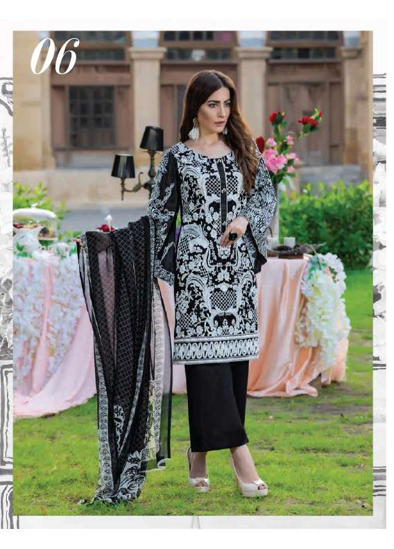 Arisha Chowdary BY ZS Embroidered Cotton Unstitched 3 Piece Suit AC17M 06
