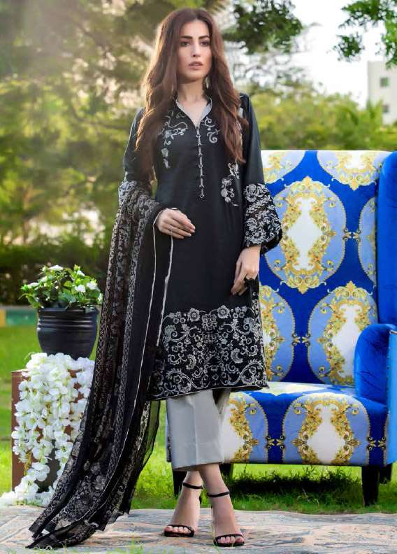 Arisha Chowdary BY ZS Embroidered Cotton Unstitched 3 Piece Suit AC17M 09