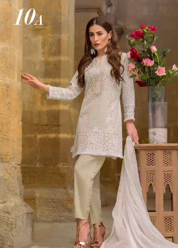 Arisha Chowdary BY ZS Embroidered Cotton Unstitched 3 Piece Suit AC17M 10A