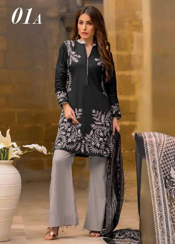 Arisha Chowdary BY ZS Embroidered Cotton Unstitched 3 Piece Suit AC17M 1A
