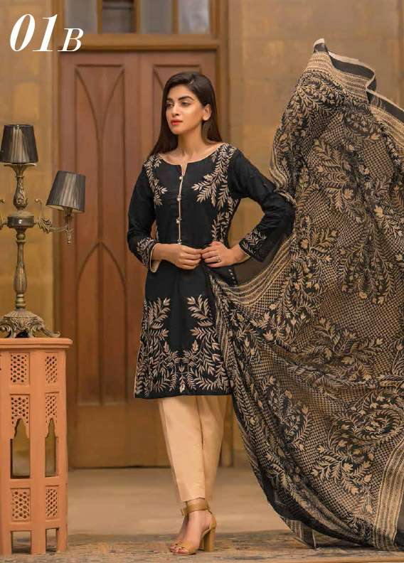 Arisha Chowdary BY ZS Embroidered Cotton Unstitched 3 Piece Suit AC17M 1B