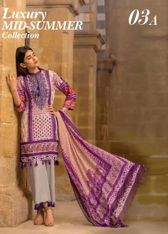 Arisha Chowdary BY ZS Embroidered Cotton Unstitched 3 Piece Suit AC17M 3A