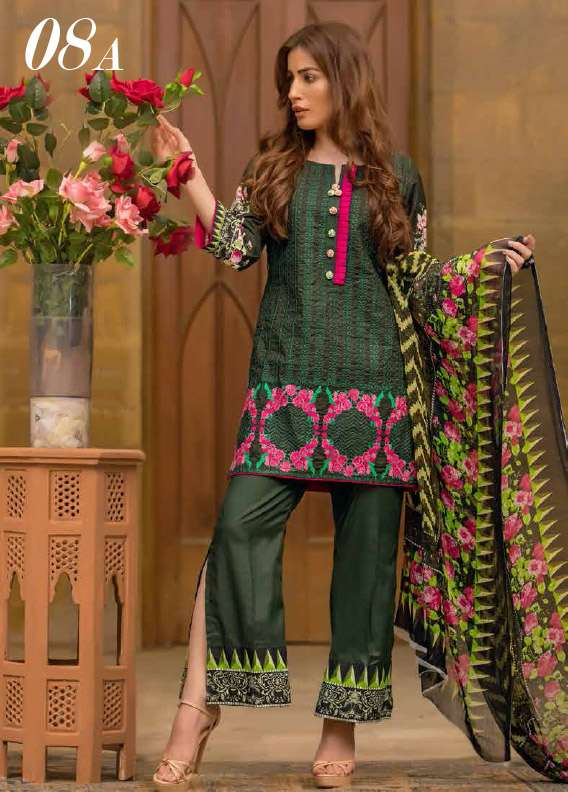Arisha Chowdary BY ZS Embroidered Cotton Unstitched 3 Piece Suit AC17M 8A