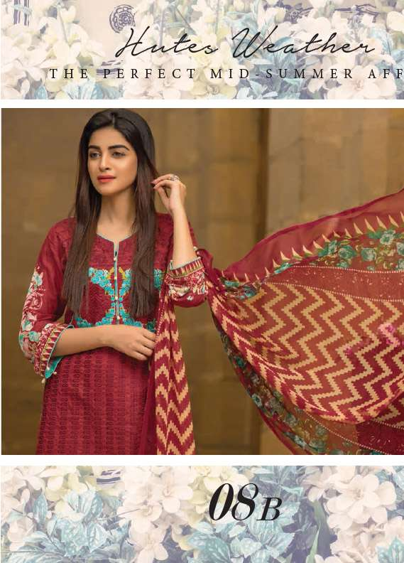 Arisha Chowdary BY ZS Embroidered Cotton Unstitched 3 Piece Suit AC17M 8B
