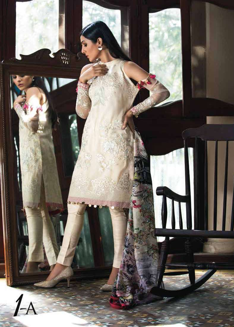 Arisha Chowdary BY ZS Embroidered Organza Unstitched 2 Piece Suit AC17S 01