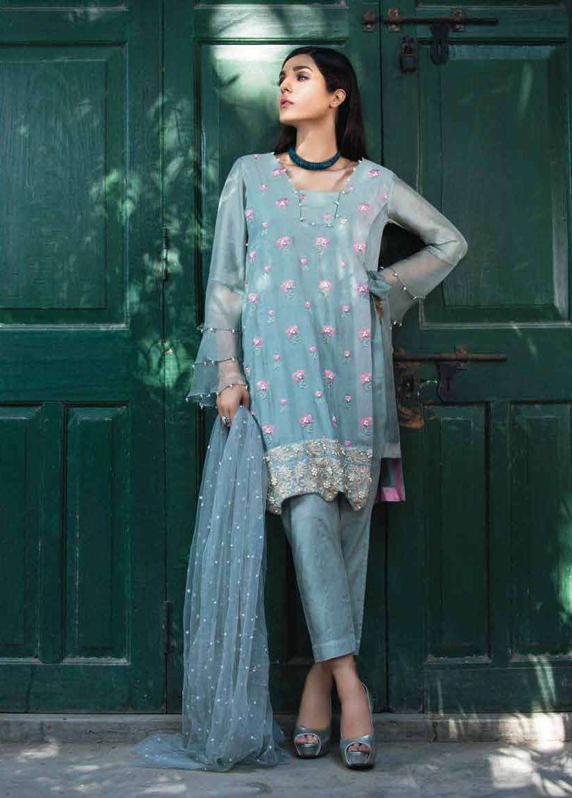 Arisha Chowdary BY ZS Embroidered Silk Unstitched 2 Piece Suit AC17S 05