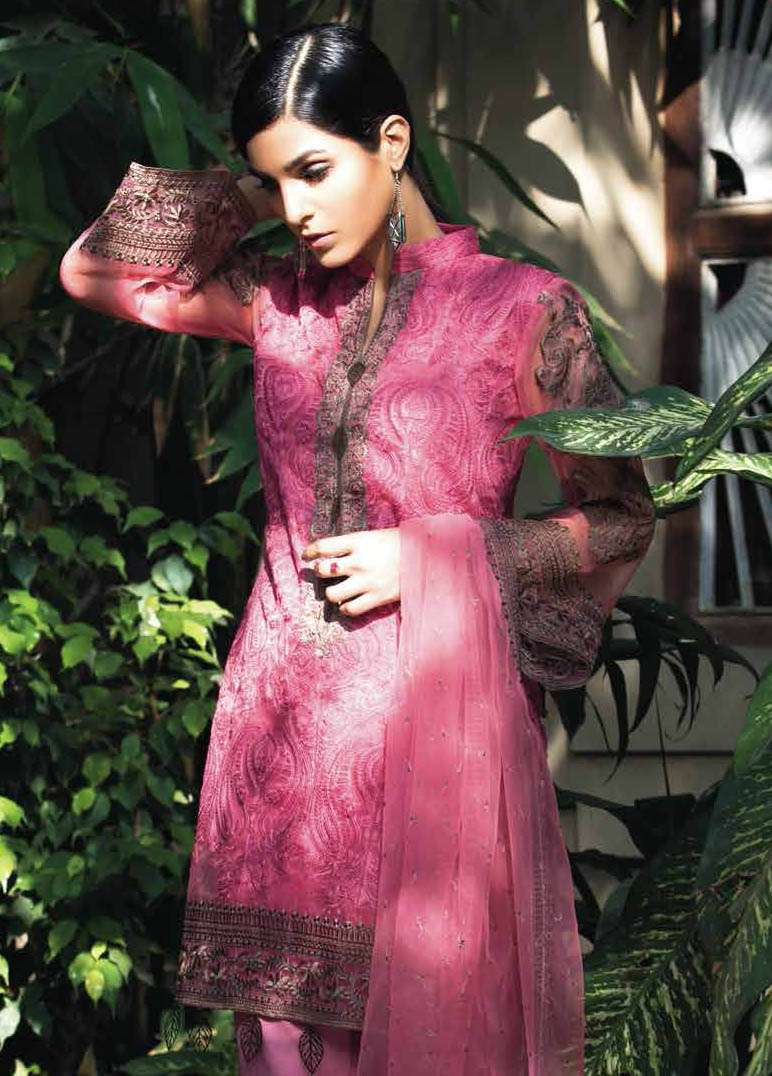 Arisha Chowdary BY ZS Embroidered Silk Unstitched 2 Piece Suit AC17S 06