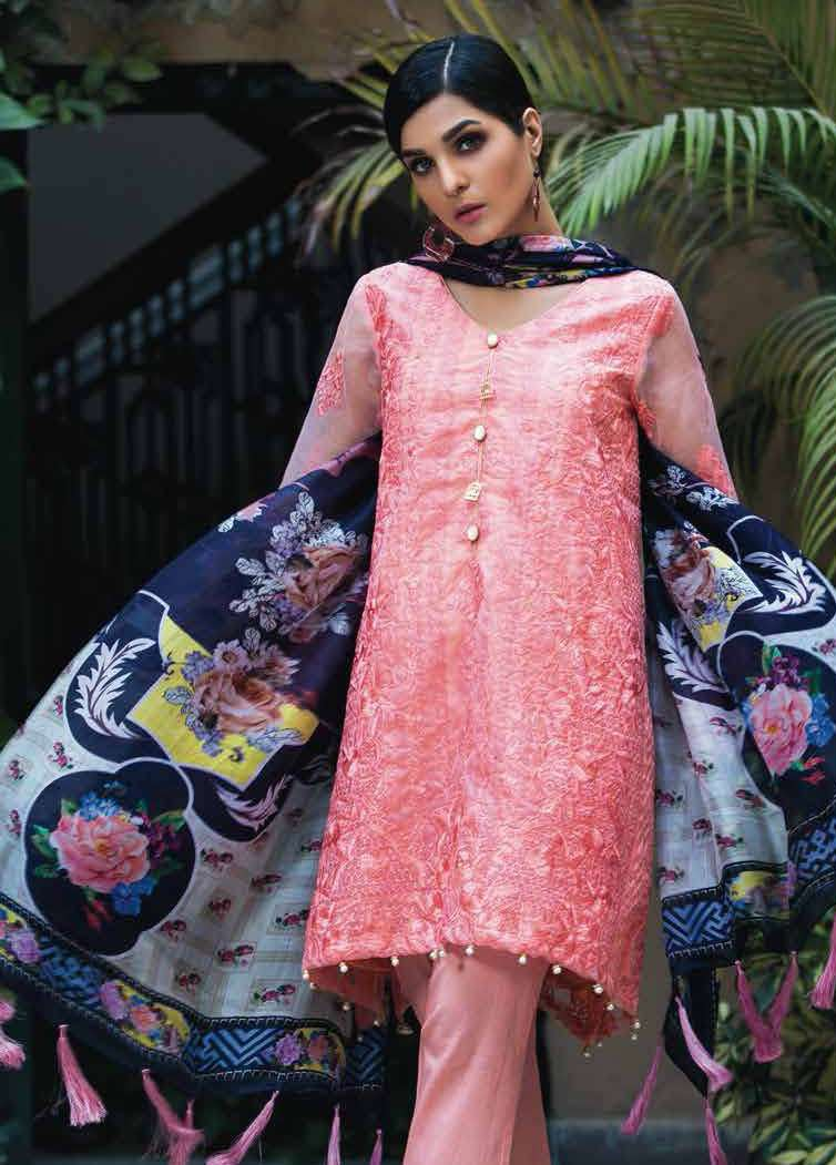 Arisha Chowdary BY ZS Embroidered Organza Unstitched 2 Piece Suit AC17S 08