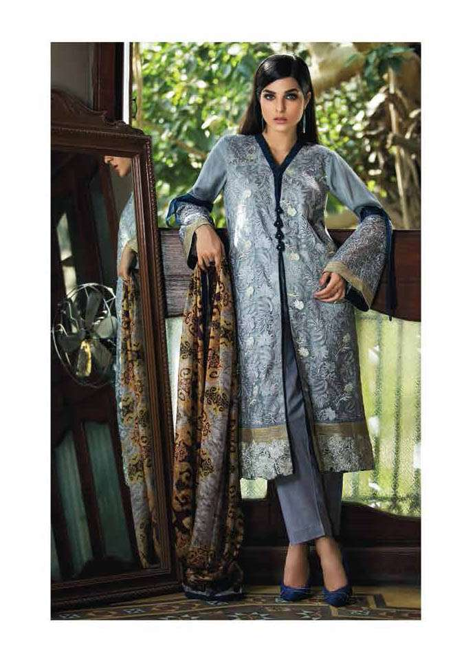 Arisha Chowdary BY ZS Embroidered Silk Unstitched 2 Piece Suit AC17S 10